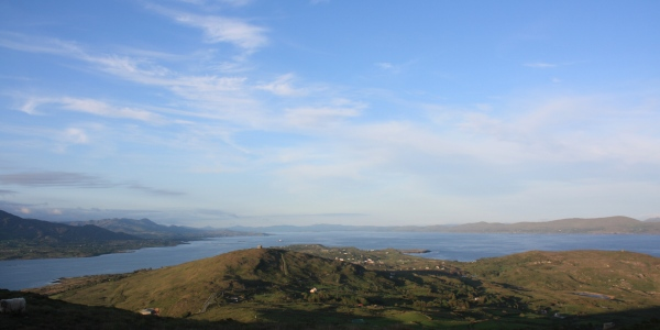A stunning view of Rerrin and the eastern end of the island looking over Bantry Bay, with Ardagh Martello Tower (left) and Cloughland Martello Tower (right) visible on the hills in the middle distance